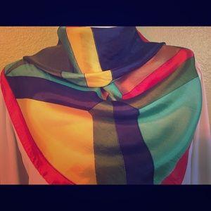 Vintage Color-block Silk Scarf